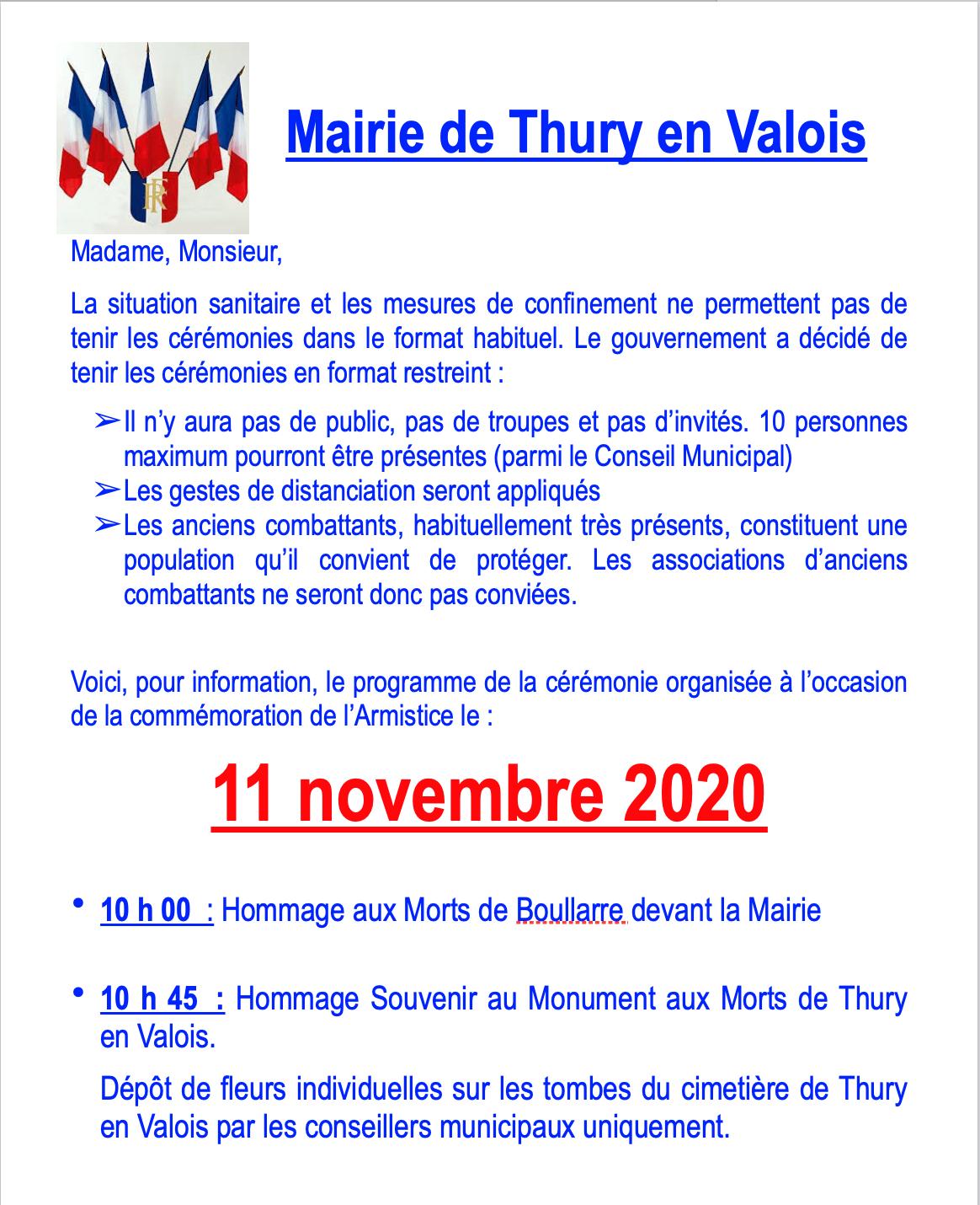 Comme moration du 11 novembre 2020