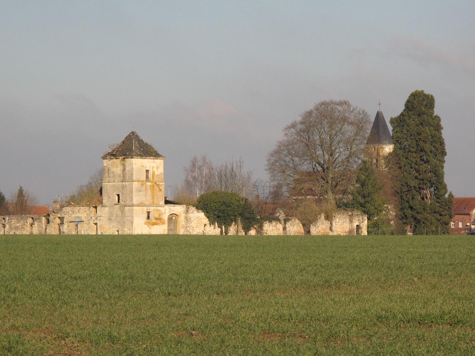 Les ruines du château de Thury. Façades sud et est...