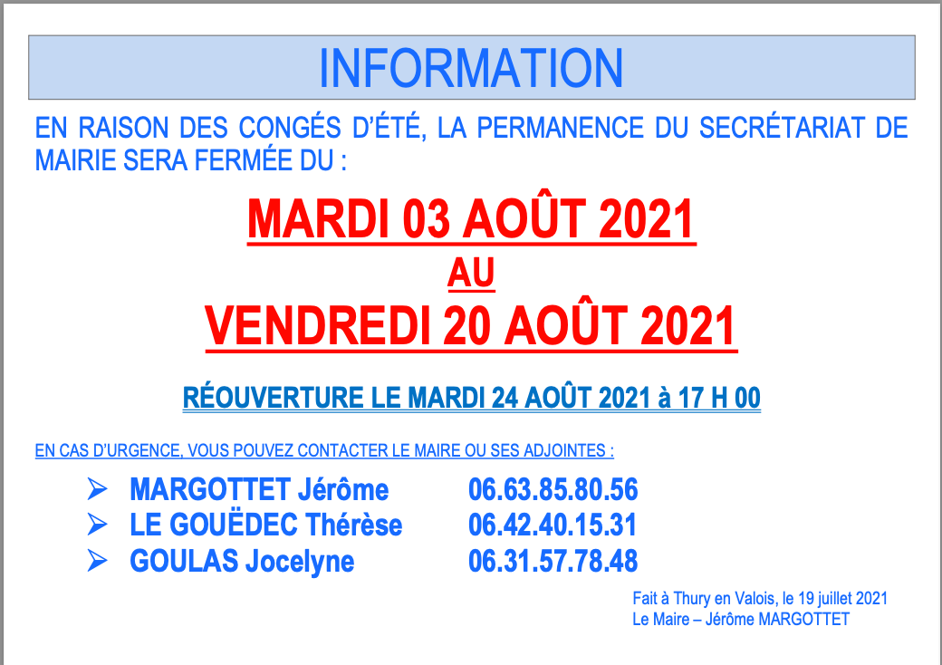 Mairie conge s e te 2021