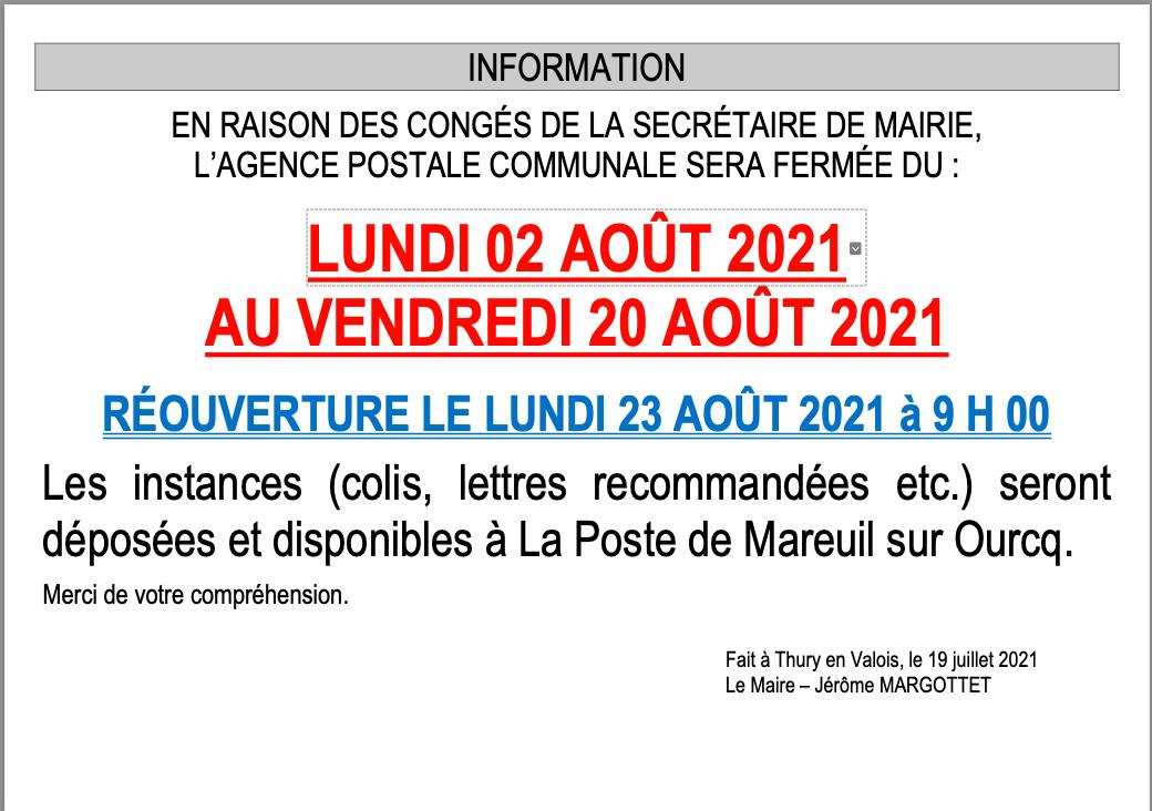 Vacances apc 2021